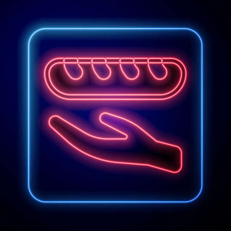 Glowing neon Donation food icon isolated on black background. Vector Illustration