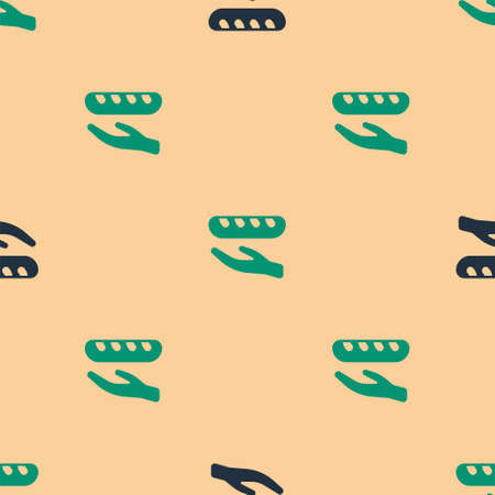 Green and black Donation food icon isolated seamless pattern on beige background. Vector Illustration