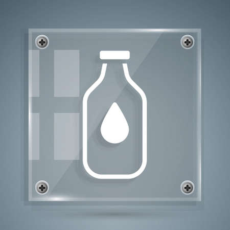 White Bottle of water icon isolated on grey background. Soda aqua drink sign. Square glass panels. Vector Illustration