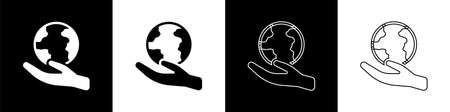 Set Human hand holding Earth globe icon isolated on black and white background. Save earth concept. Vector Illustration