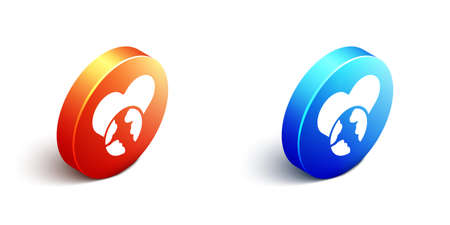 Isometric The heart world - love icon isolated on white background. Orange and blue circle button. Vector