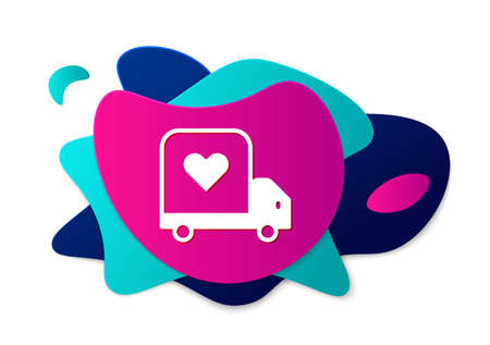 Color Delivery truck with heart icon isolated on white background. Love delivery truck. Love truck valentines day. Abstract banner with liquid shapes. Vector Illustration