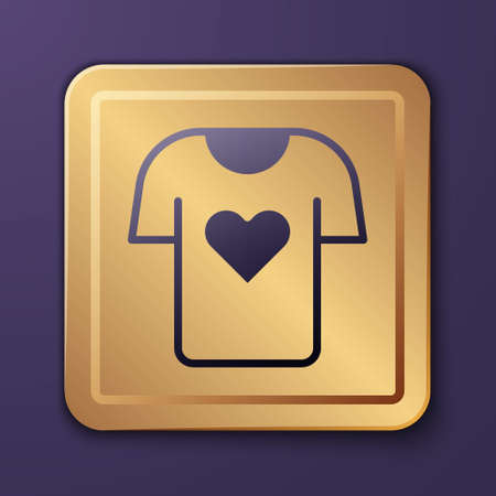 Purple Clothes donation icon isolated on purple background. Gold square button. Vector