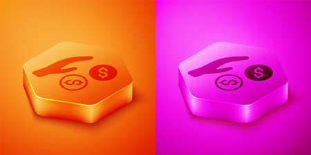 Isometric Donation and charity icon isolated on orange and pink background. Donate money and charity concept. Hexagon button. Vector Illustration