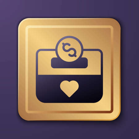 Purple Donation and charity icon isolated on purple background. Donate money and charity concept. Gold square button. Vector Illustration