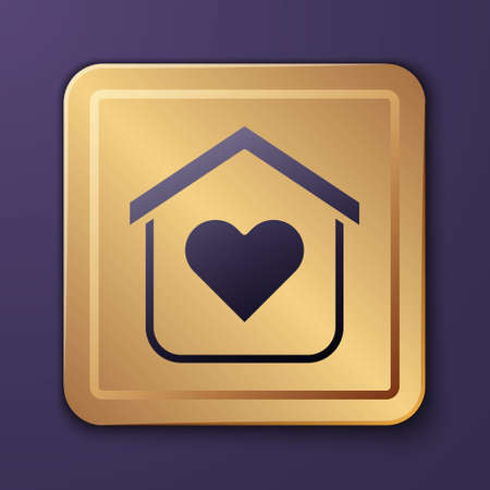 Purple Shelter for homeless icon isolated on purple background. Emergency housing, temporary residence for people, bums and beggars without home. Gold square button. Vector Illustration