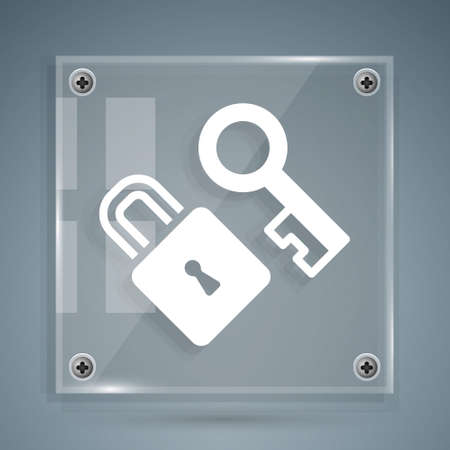 White Lock with key icon isolated on grey background. Love symbol and keyhole sign. Square glass panels. Vector