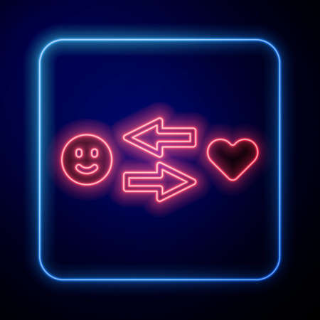 Glowing neon Romantic relationship icon isolated on black background. Romantic relationship or pleasant meeting concept. Vector Illustration