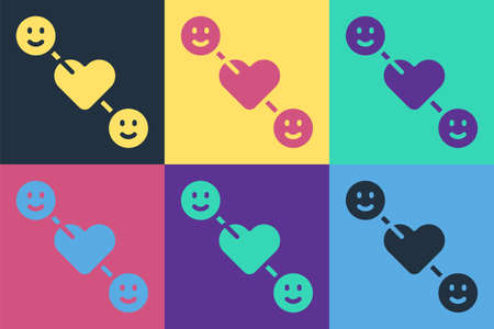 Pop art Romantic relationship icon isolated on color background. Romantic relationship or pleasant meeting concept. Vector