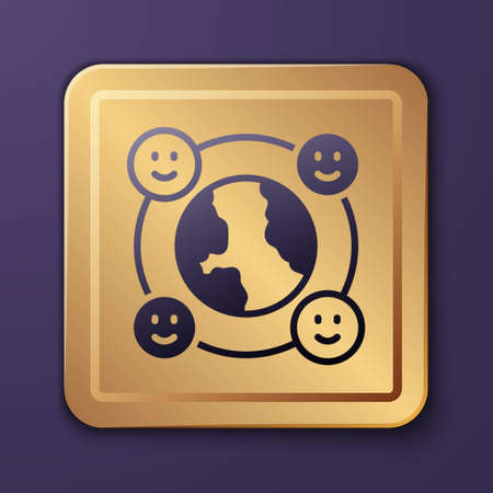 Purple International community icon isolated on purple background. Worldwide community. Cross cultural communication. Making friends worldwide. Gold square button. Vector