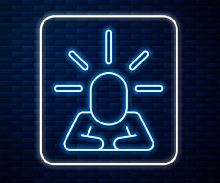 Glowing neon line Depression and frustration icon isolated on brick wall background. Man in depressive state of mind. Mental health problems. Vector