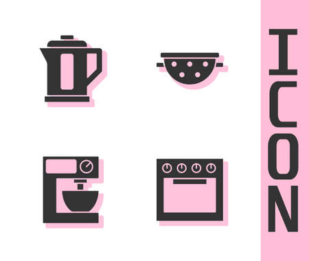 Set Oven, Electric kettle, mixer and Kitchen colander icon. Vector Vecteurs