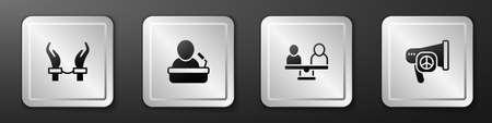 Set Handcuffs on hands of criminal, Speaker, Gender equality and Peace icon. Silver square button. Vector Ilustração Vetorial