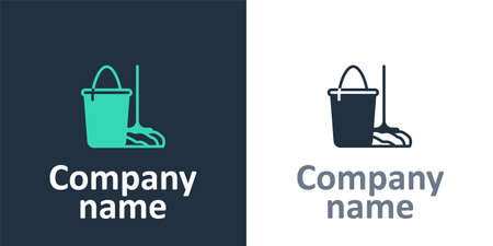 Logotype Mop and bucket icon isolated on white background. Cleaning service concept. Logo design template element. Vector