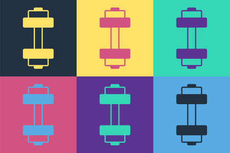 Pop art Dumbbell icon isolated on color background. Muscle lifting icon, fitness barbell, gym, sports equipment, exercise bumbbell. Vector Çizim