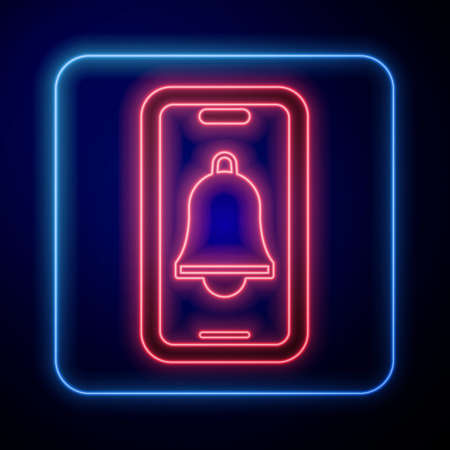 Glowing neon Emergency mobile phone call to hospital icon isolated on black background. Vector Çizim