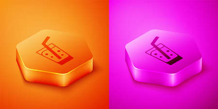 Isometric Glass with water icon isolated on orange and pink background. Soda glass. Hexagon button. Vector Çizim