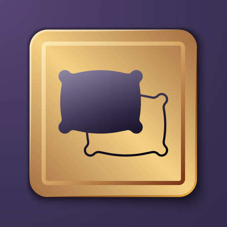 Purple Rectangular pillow icon isolated on purple background. Cushion sign. Gold square button. Vector