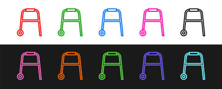 Set line Walker for disabled person icon isolated on black and white background. Vector Çizim