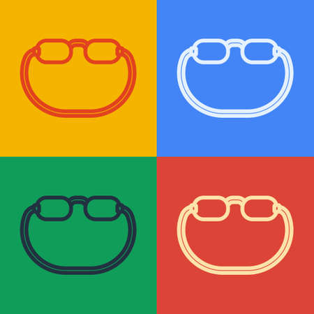 Pop art line Eyeglasses icon isolated on color background. Vector