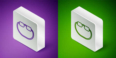 Isometric line Eyeglasses icon isolated on purple and green background. Silver square button. Vector Çizim
