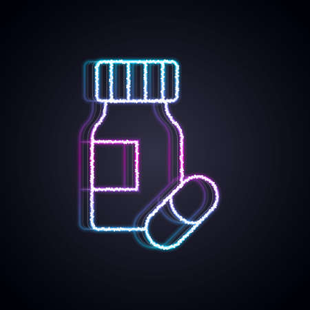 Glowing neon line Medicine bottle and pills icon isolated on black background. Bottle pill sign. Pharmacy design. Vector