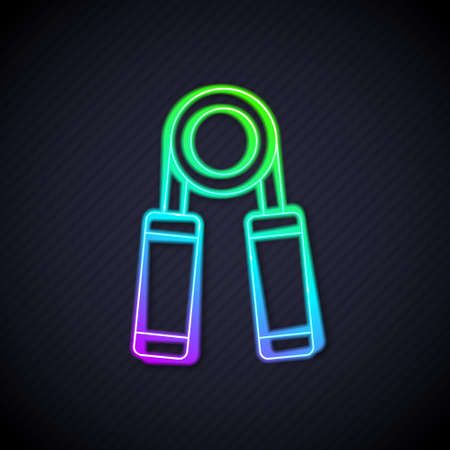 Glowing neon line Sport hand grip icon isolated on black background. Sport equipment. Vector