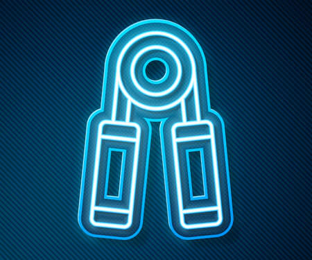 Glowing neon line Sport hand grip icon isolated on blue background. Sport equipment. Vector