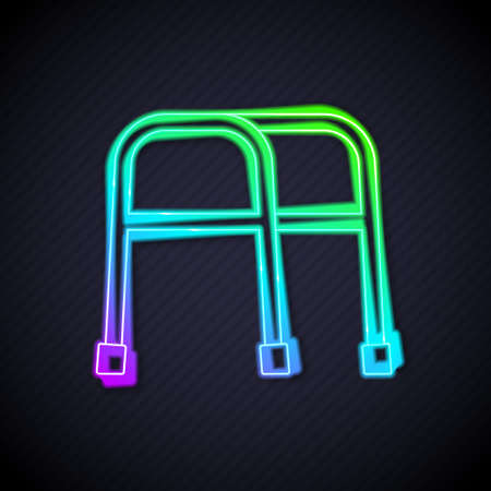 Glowing neon line Walker for disabled person icon isolated on black background. Vector Çizim