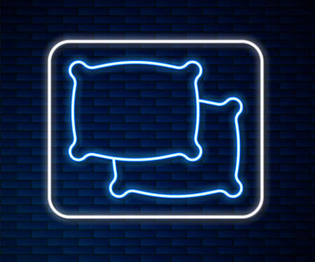 Glowing neon line Rectangular pillow icon isolated on brick wall background. Cushion sign. Vector