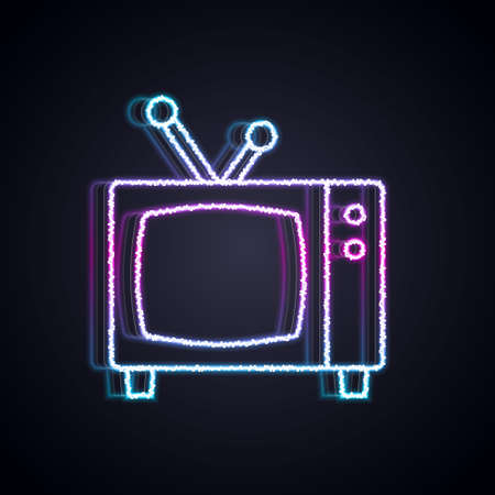 Glowing neon line Retro tv icon isolated on black background. Television sign. Vector