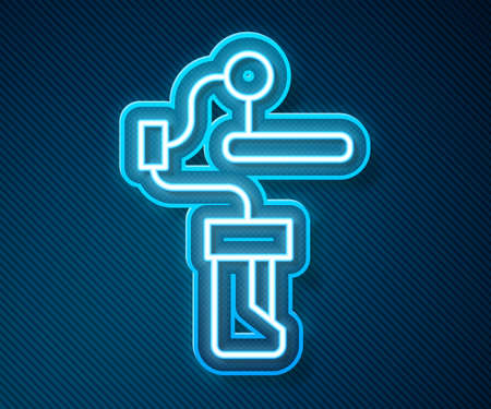 Glowing neon line Gimbal stabilizer for camera icon isolated on blue background. Vector