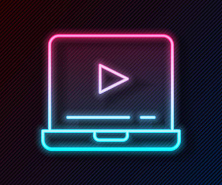 Glowing neon line Online play video icon isolated on black background. Laptop and film strip with play sign. Vector Çizim