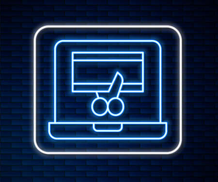 Glowing neon line Video recorder or editor software on laptop icon isolated on brick wall background. Video editing on a laptop. Vector Çizim