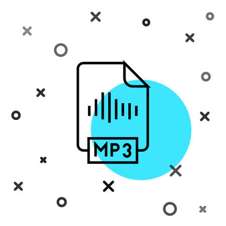 Black line MP3 file document. Download mp3 button icon isolated on white background. Mp3 music format sign. MP3 file symbol. Random dynamic shapes. Vector Çizim