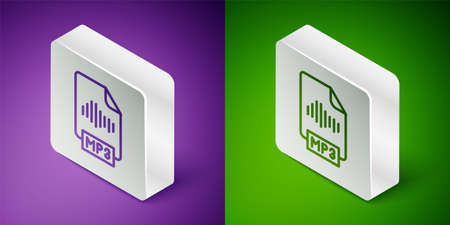 Isometric line MP3 file document. Download mp3 button icon isolated on purple and green background. Mp3 music format sign. MP3 file symbol. Silver square button. Vector Çizim