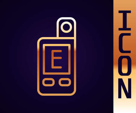 Gold line Light meter icon isolated on black background. Hand luxmeter. Exposure meter - a device for measuring the brightness. Vector Çizim