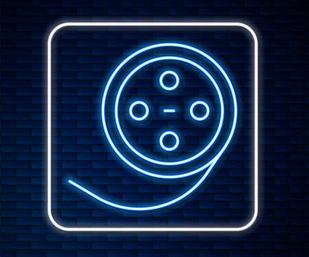 Glowing neon line Film reel icon isolated on brick wall background. Vector Çizim