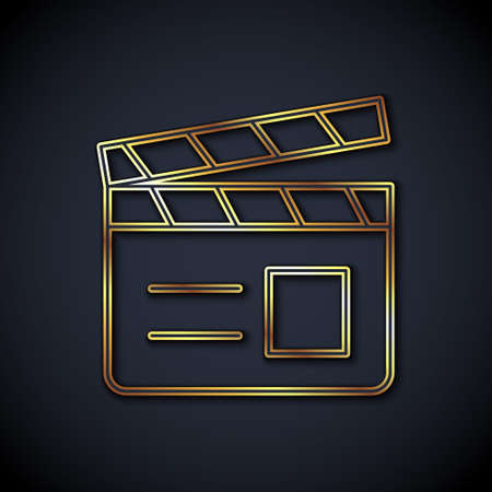 Gold line Movie clapper icon isolated on black background. Film clapper board. Clapperboard sign. Cinema production or media industry. Vector Çizim