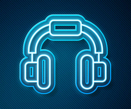 Glowing neon line Headphones icon isolated on blue background. Earphones. Concept for listening to music, service, communication and operator. Vector Çizim
