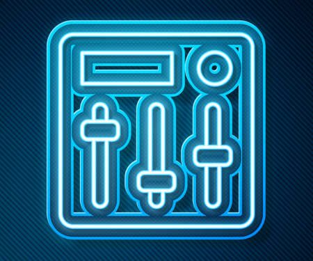Glowing neon line Sound mixer controller icon isolated on blue background. Dj equipment slider buttons. Mixing console. Vector
