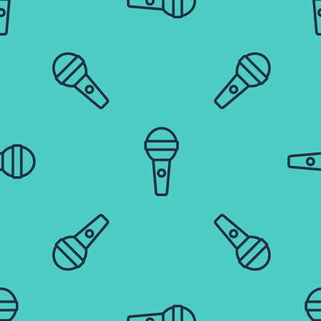 Black line Microphone icon isolated seamless pattern on green background. On air radio mic microphone. Speaker sign. Vector Çizim