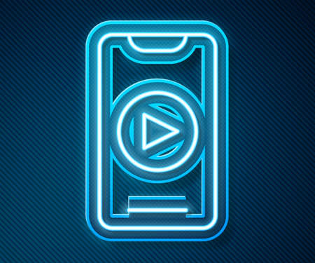 Glowing neon line Online play video icon isolated on blue background. Smartphone and film strip with play sign. Vector Çizim
