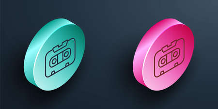 Isometric line Retro audio cassette tape icon isolated on black background. Turquoise and pink circle button. Vector
