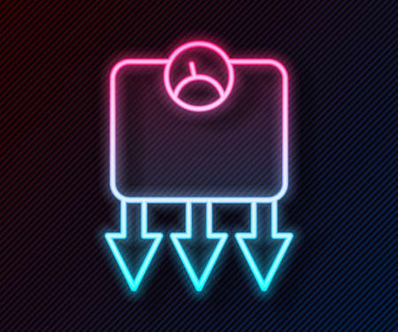 Glowing neon line Weight loss icon isolated on black background. Vector Çizim