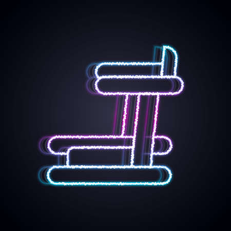 Glowing neon line Treadmill machine icon isolated on black background. Vector