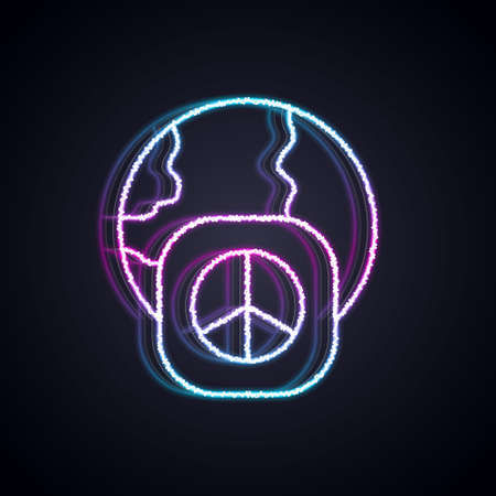 Glowing neon line International day of peace icon isolated on black background. World peace. Vector Çizim