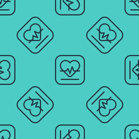 Black line Heart rate icon isolated seamless pattern on green background. Heartbeat sign. Heart pulse icon. Cardiogram icon. Vector Çizim