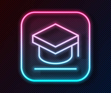 Glowing neon line Graduation cap icon isolated on black background. Graduation hat with tassel icon. Vector