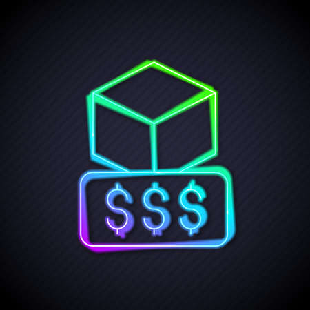 Glowing neon line 3D printer services icon isolated on black background. 3d printing. Vector Çizim